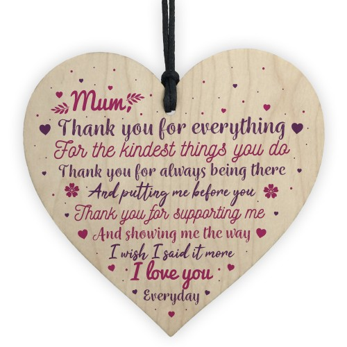 THANK YOU Gift For Mum Mummy Birthday Christmas Heart Plaque