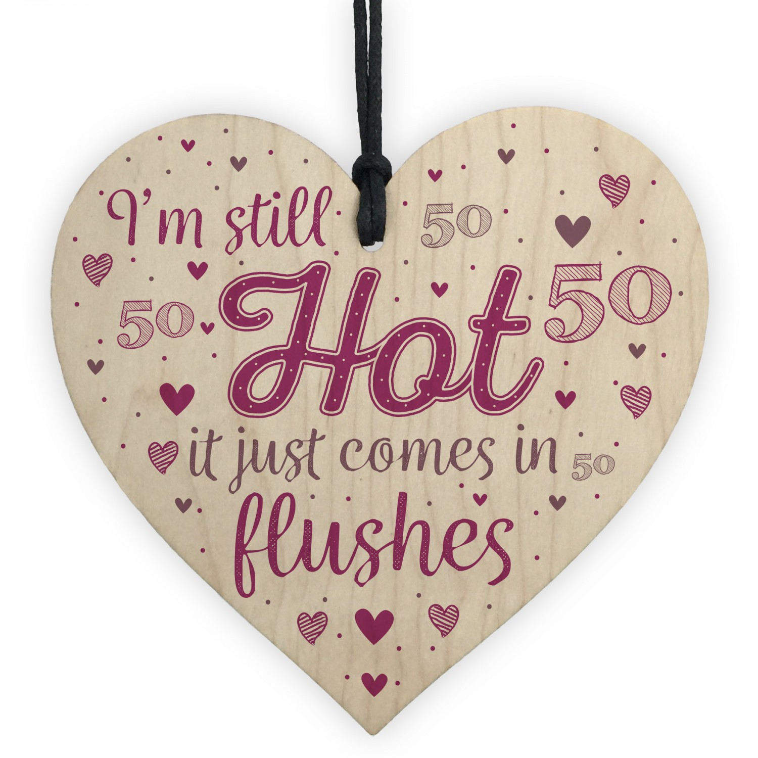 Funny 50th Birthday Gifts For Women Fifty Party Wood Heart Card