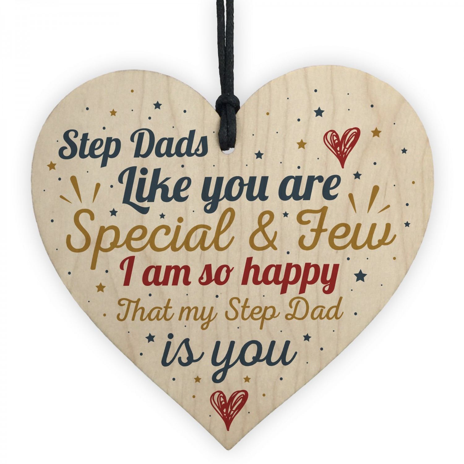Step Dad Father Gift Christmas Birthday Wood Heart Plaque
