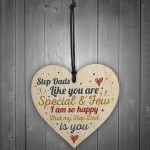 Step Dad Father Gift Christmas Birthday Gift Wood Heart Plaque