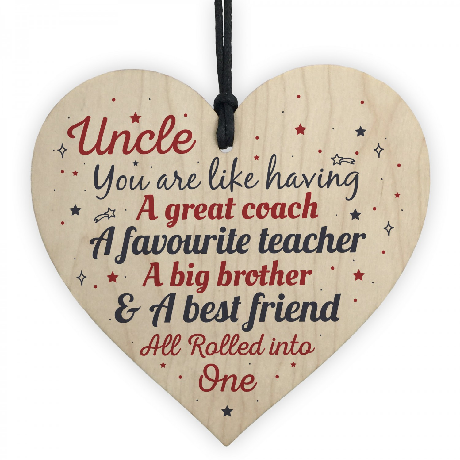 UNCLE Best Friend Gift Wooden Heart Sign Birthday For Uncle