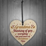 GRANDMA Memorial Christmas Bauble Wooden Heart Plaque Gift