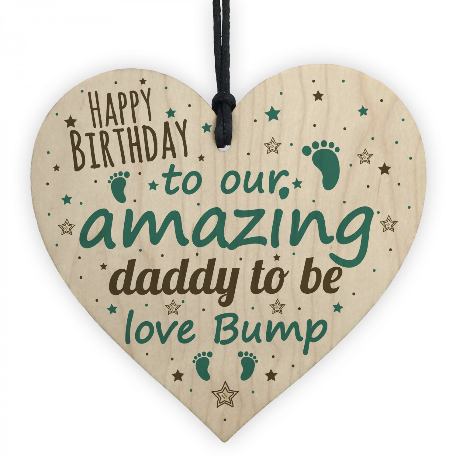 Happy Birthday Daddy To Be From Bump Wood Heart Dad Father Gift