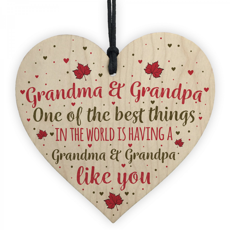 Grandma Grandpa Gifts Hanging Wooden Heart Sign Birthday