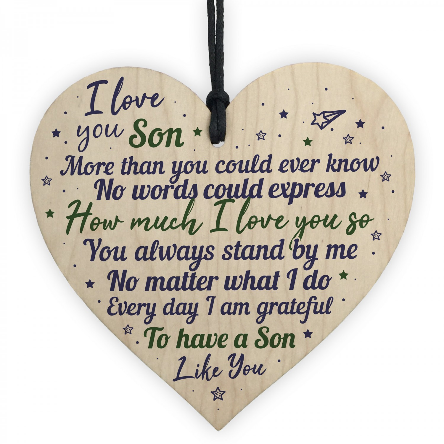 Mum Dad Christmas Birthday Gifts For Son Wood Hanging Heart Gift