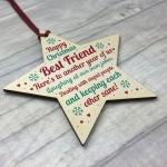 Christmas Best Friend Gift Wood Bauble Tree Decoration Keepsake