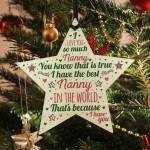 Best NAN Gift For Nanny Wooden Hanging Star Birthday Christmas