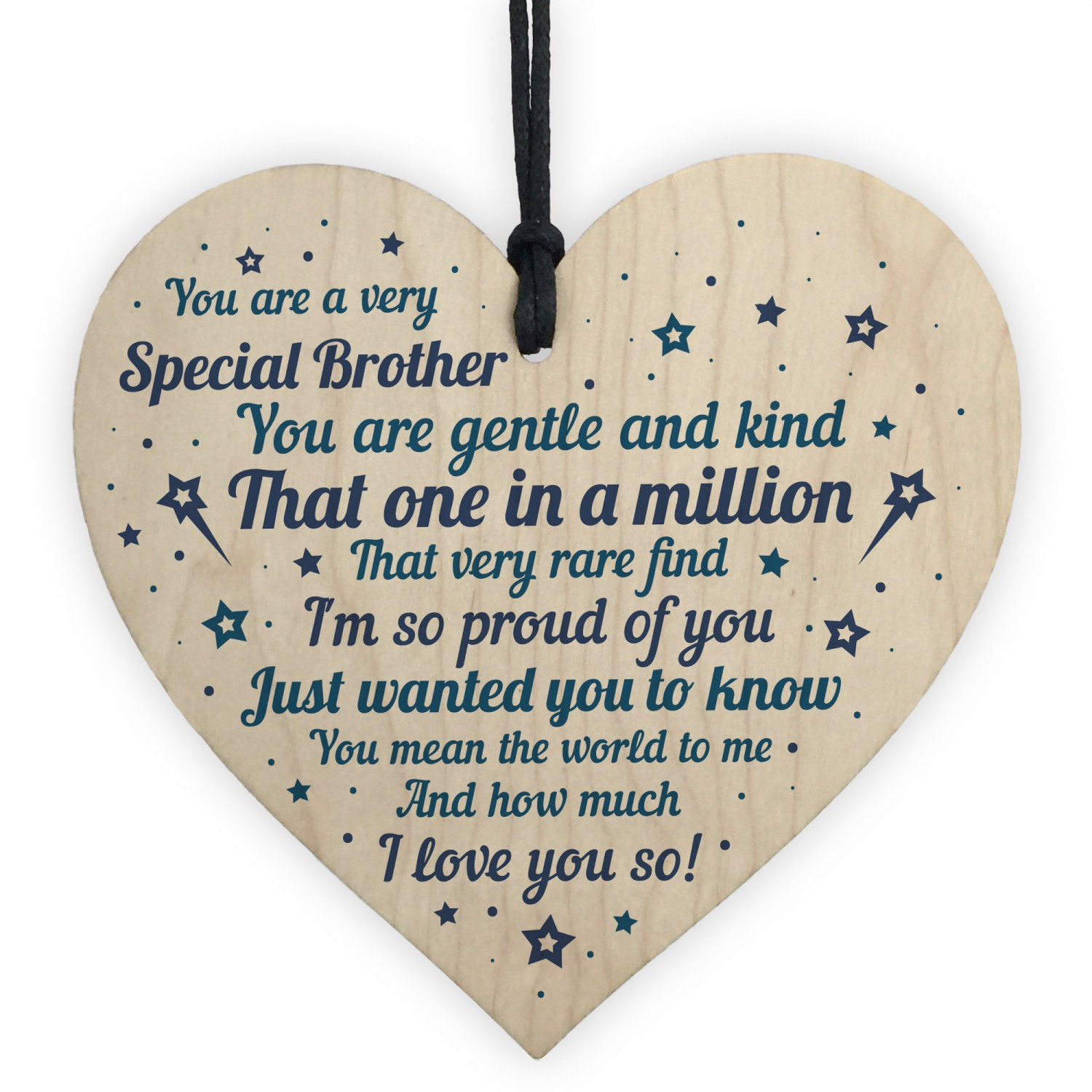 Brother Sister Birthday Gift Wooden Heart Christmas Card