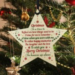 CHRISTMAS BAUBLE Wooden Star Memorial Plaque For Mum Dad