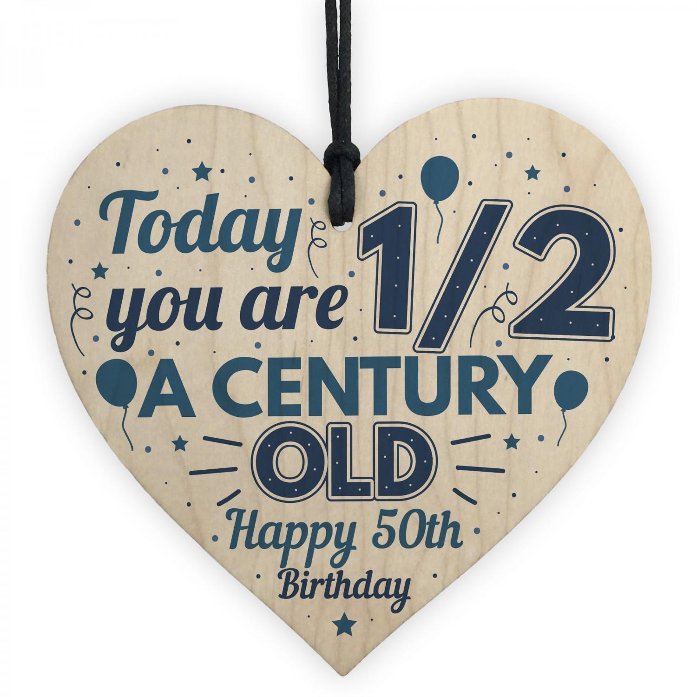 Novelty 50th Birthday Gift For Men Women Hanging Wooden Heart