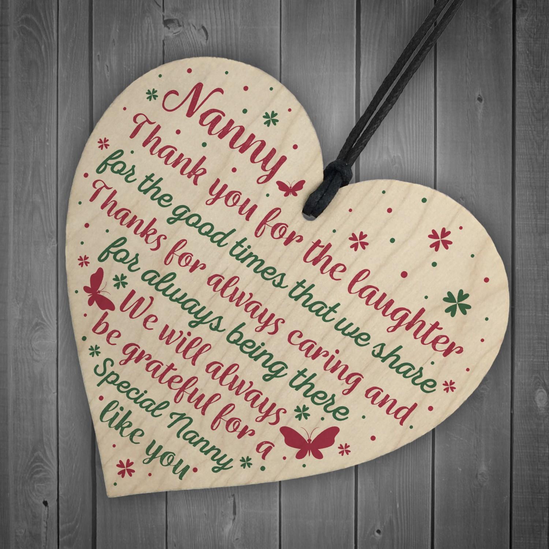Nanny Gifts For Christmas Heart Thank You Nan Birthday Gift Sign