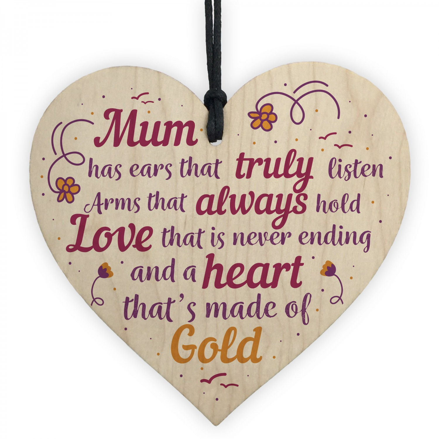 Mother Christmas Gifts.Mum Mummy Mother Christmas Gift From Daughter Son Wood Heart