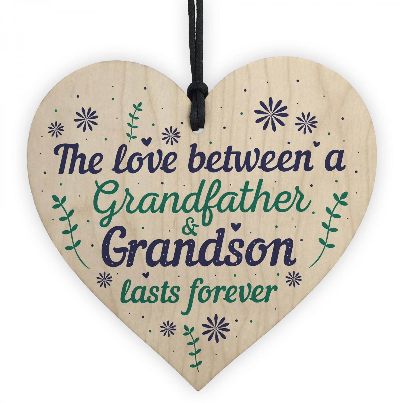Grandfather Gift Ideas Wood Heart Grandpa Grandad Birthday Gifts