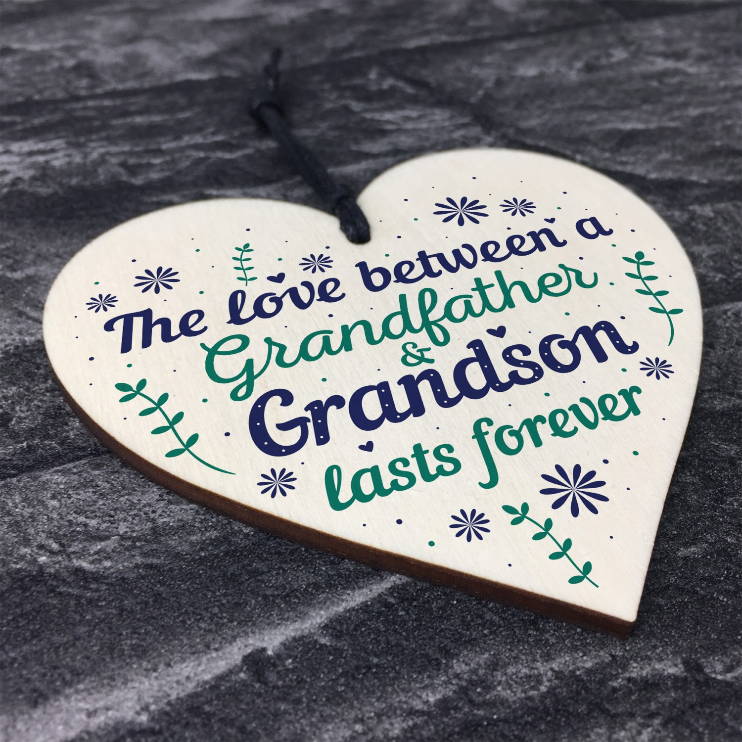 Grandfather Gift Ideas Wood Heart Grandpa Grandad Birthday Gifts