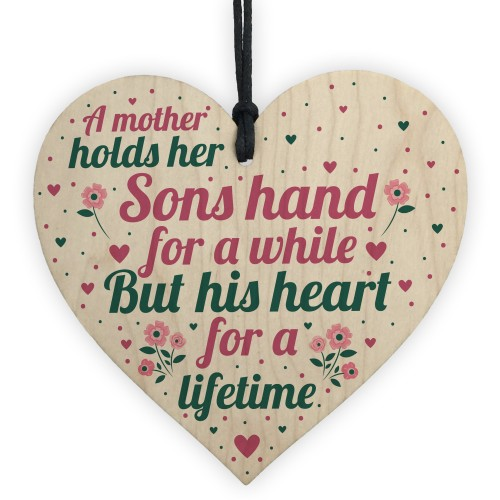 Mother And Son Gifts Wooden Heart Mum Birthday Christmas Gift
