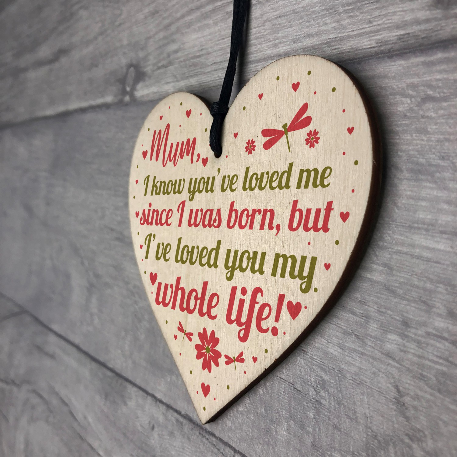 Mummy Mum Gifts For Daughter And Son Wood Heart Birthday