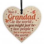 THANK YOU Gift For Nan And Grandad Wood Heart Birthday Keepsake