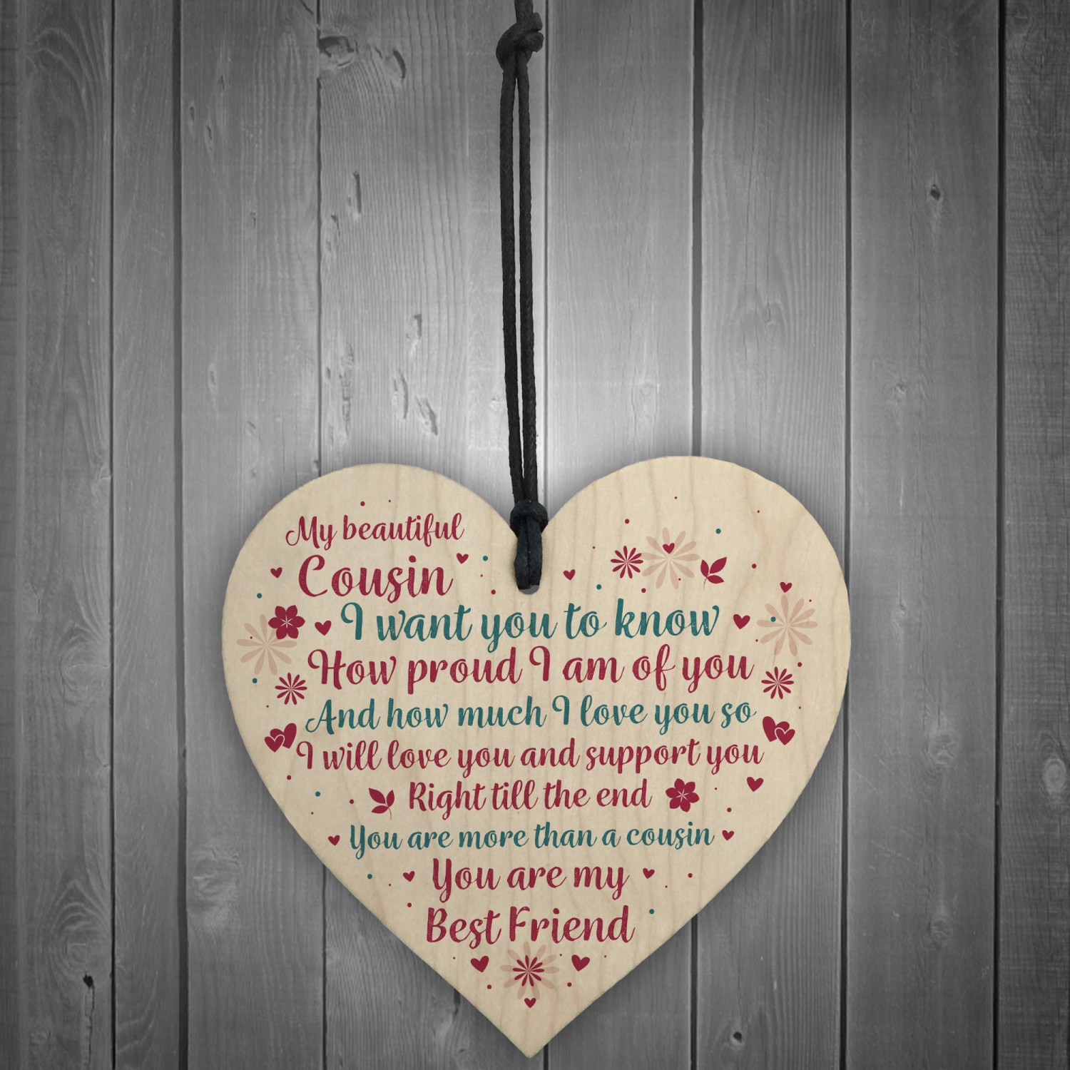 Cousin Birthday Christmas Card Gift Wooden Heart Sign