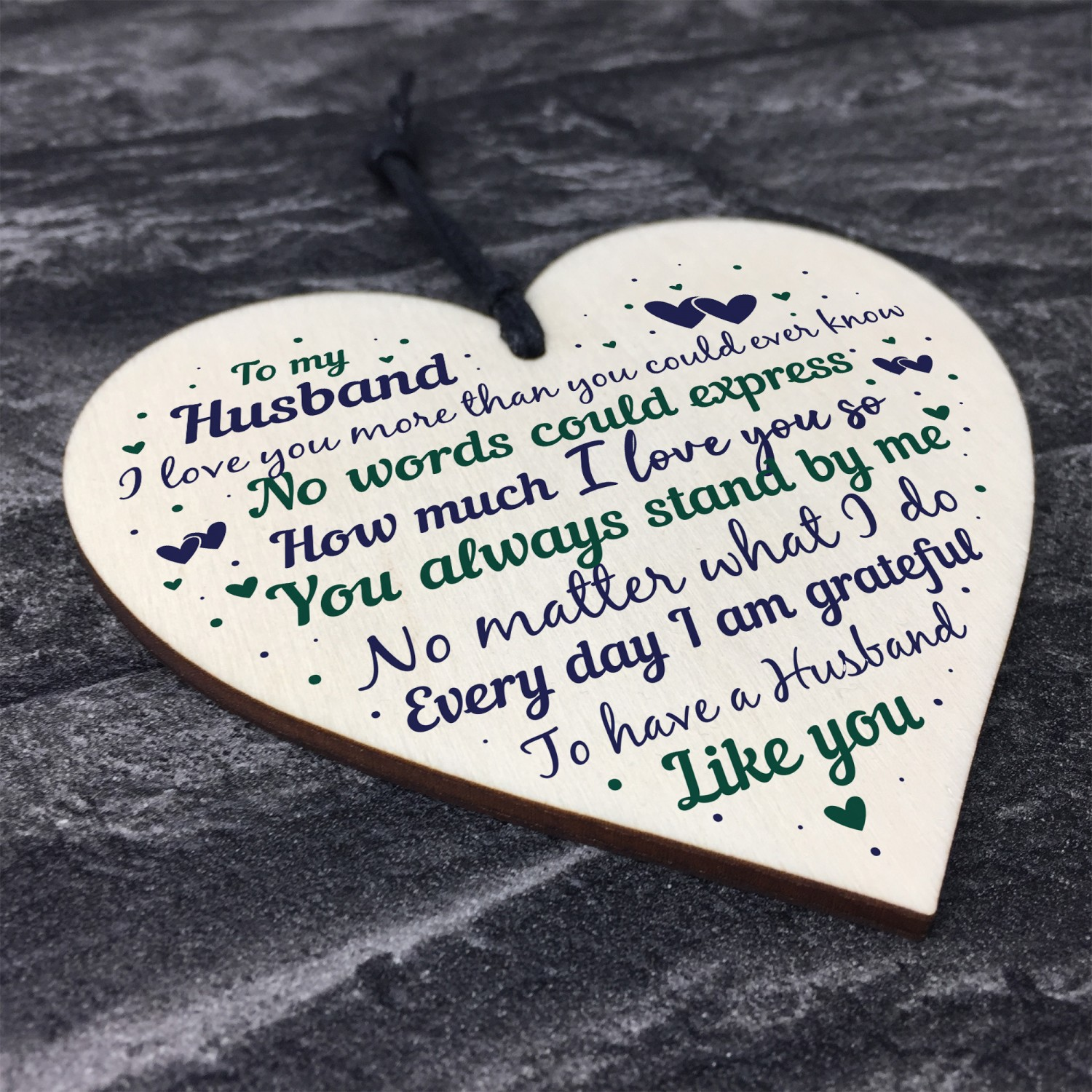 Husband Anniversary Gift From Wife Handmade Wooden Heart Poem