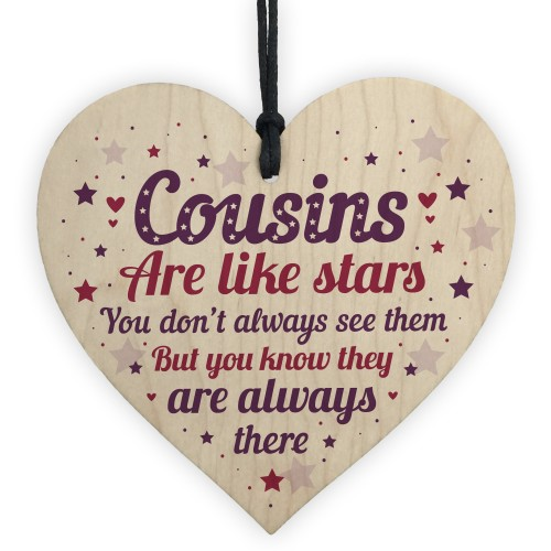 Cousin Heart Plaque Wooden Cousin Birthday Card Male Female Sign