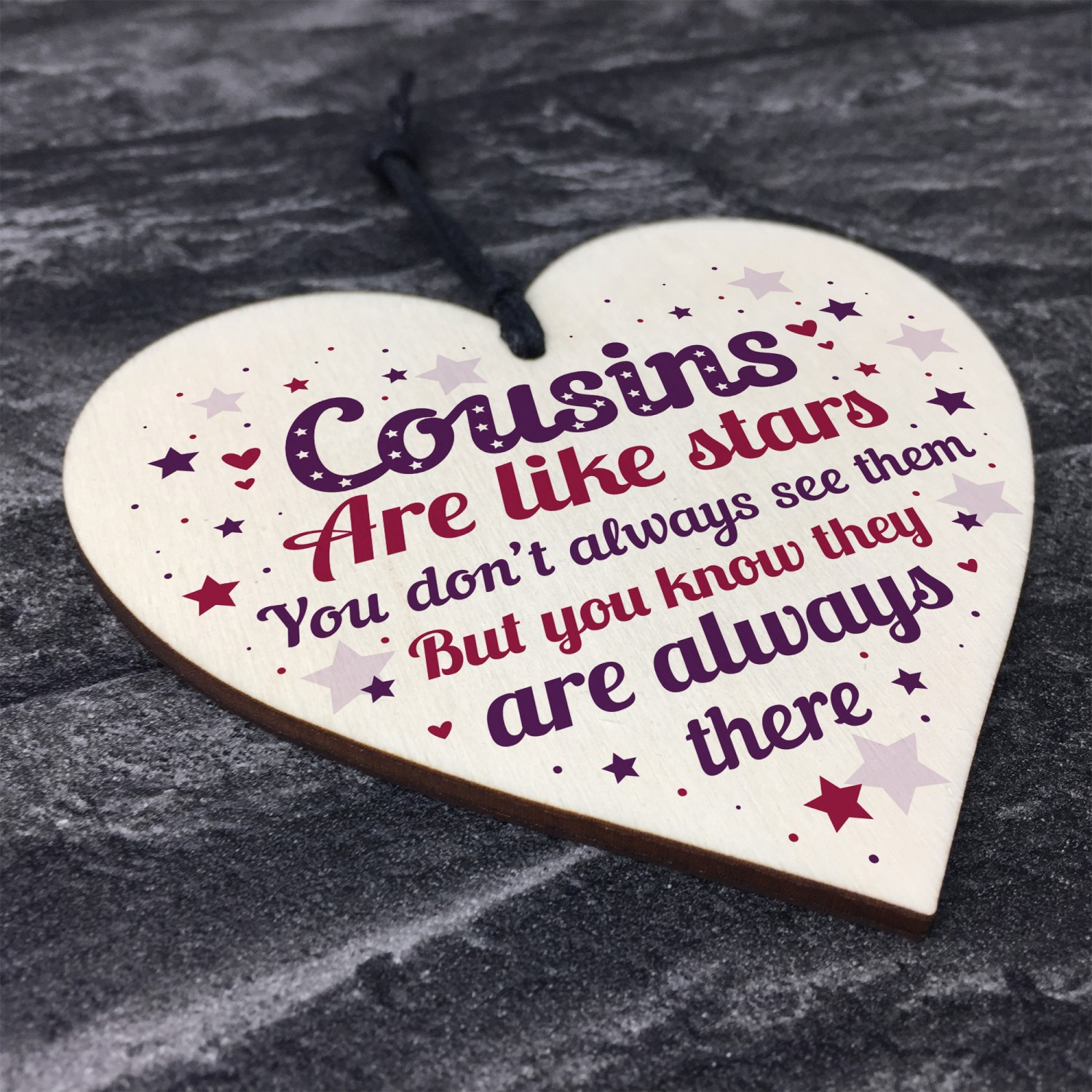 Cousin Heart Plaque Wooden Birthday Card Male Female Sign