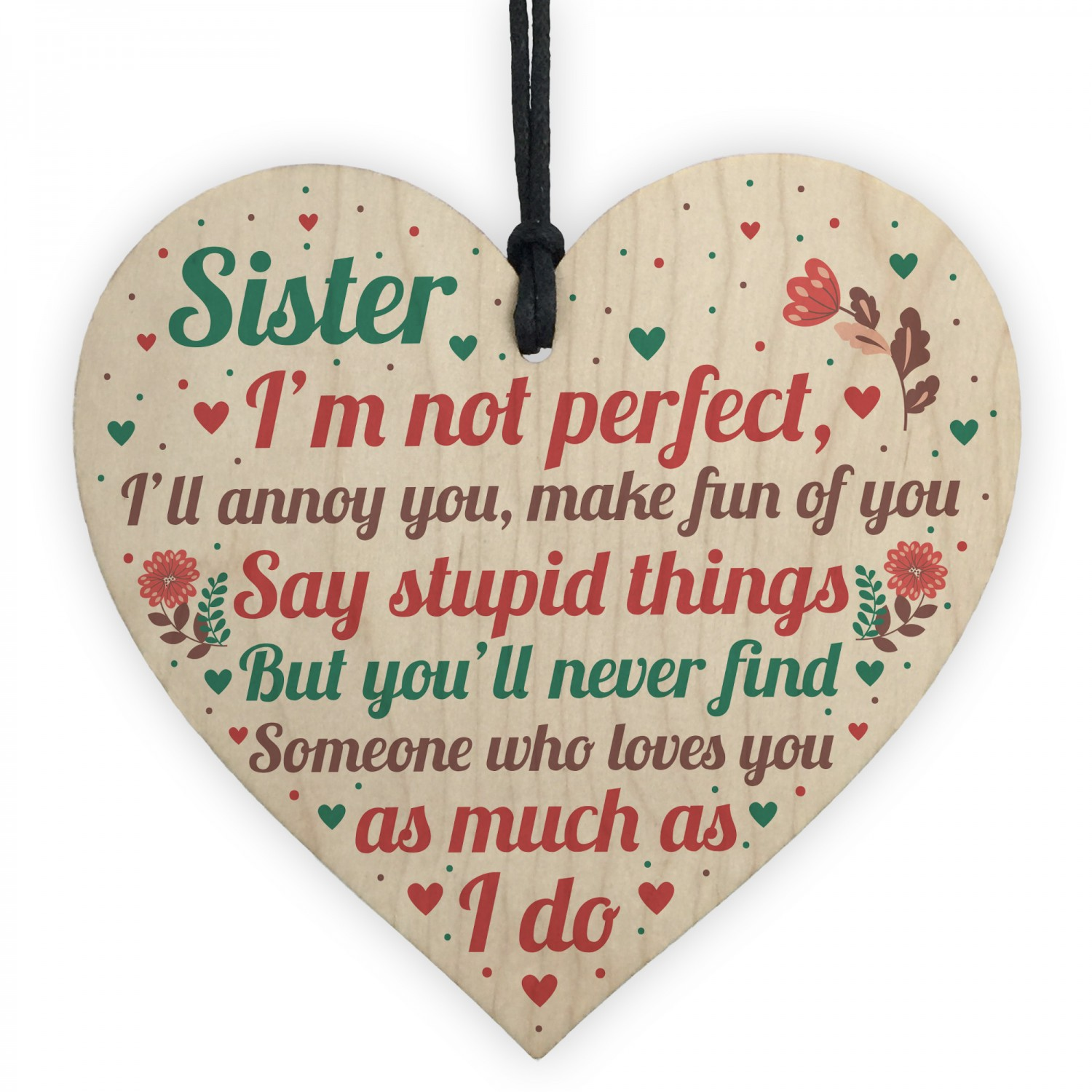 Funny Sister Birthday Christmas Card Gifts Wood Heart ...
