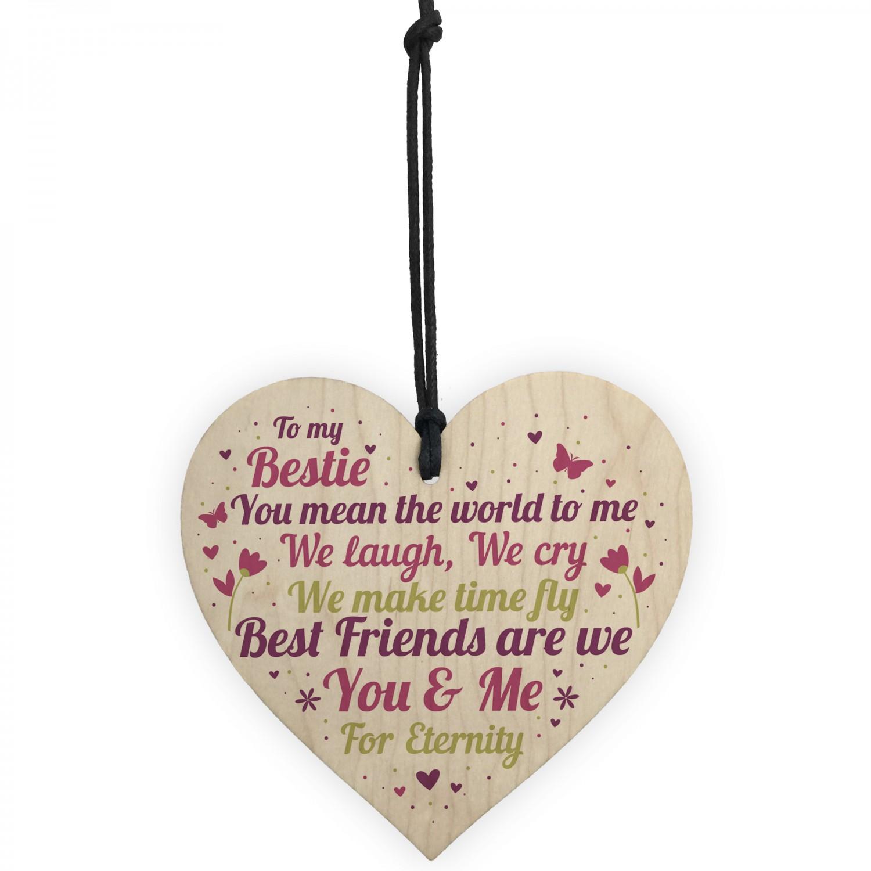 Bestie Ornament Present Bestie Friendship Plaque Wooden Heart THANK YOU Gift