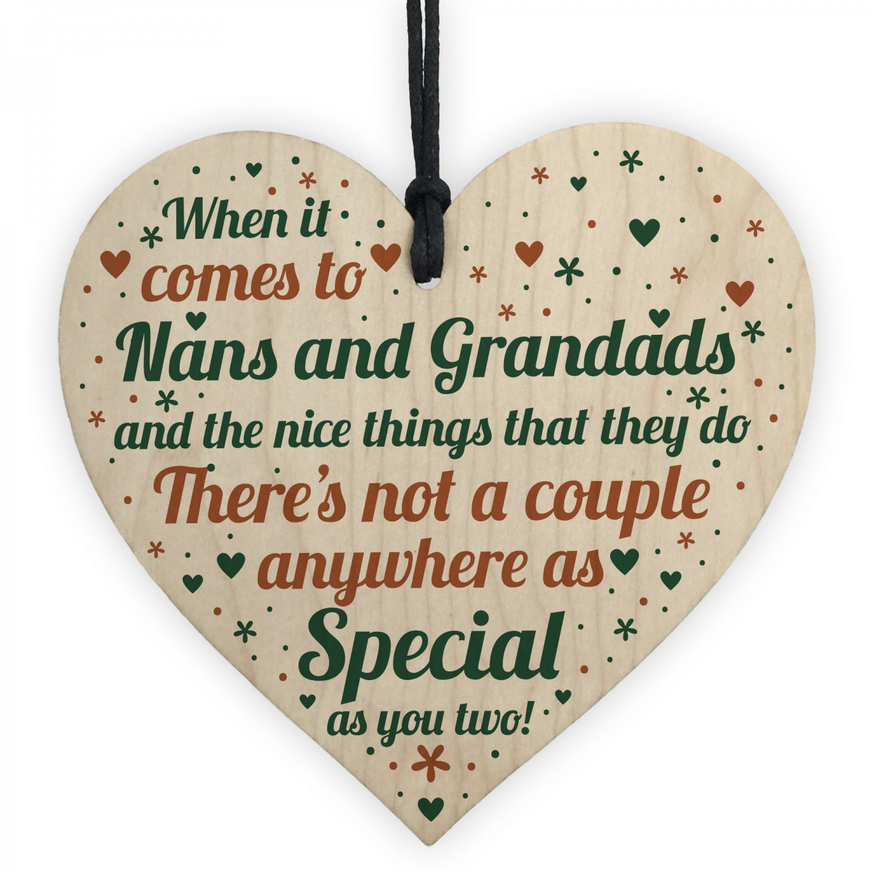 Nan And Grandad Christmas Gift Birthday Wood Heart Keepsake