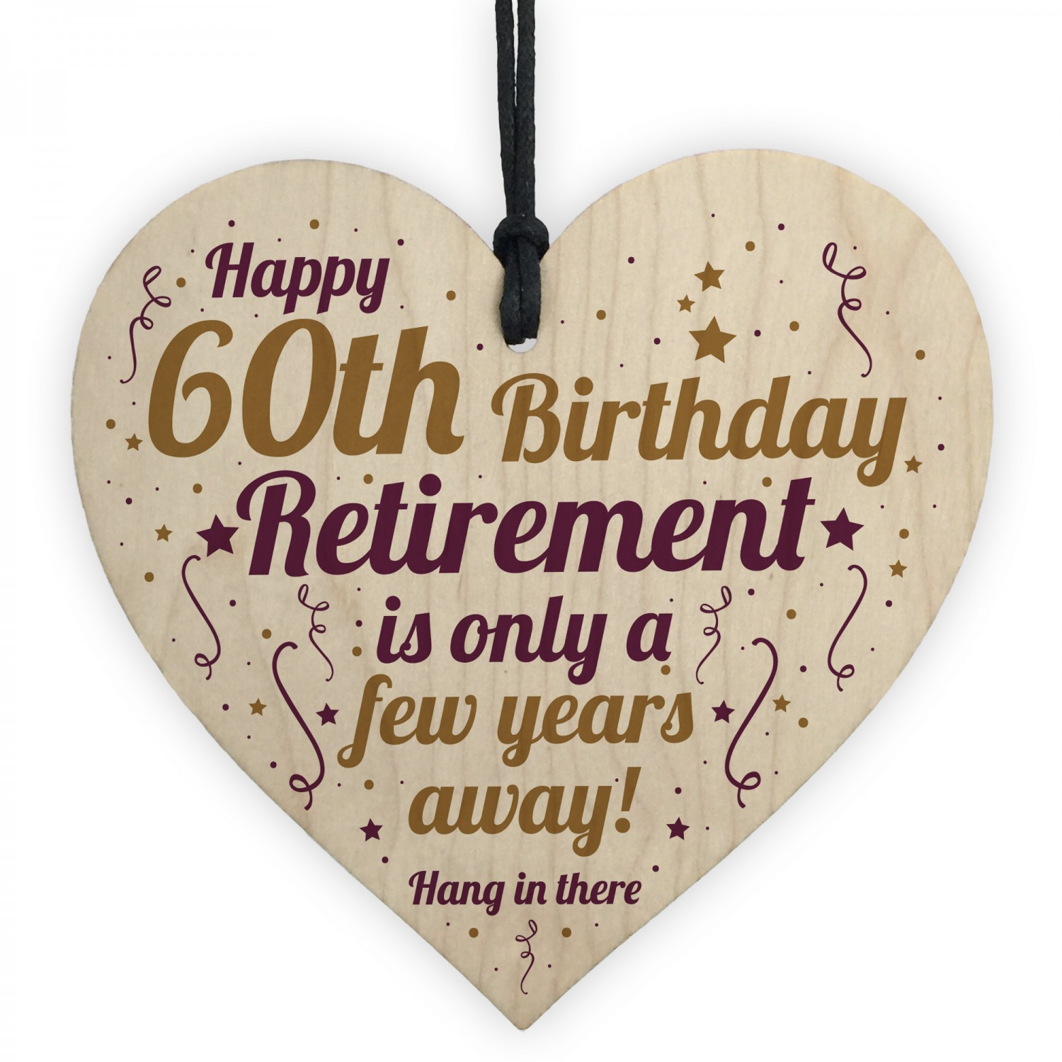 Funny 60th Birthday Card Wooden Heart Gift For Men