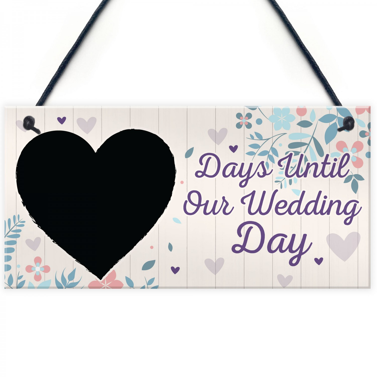 Chalkboard Countdown Days Until Wedding Day Mr Mrs Engagement