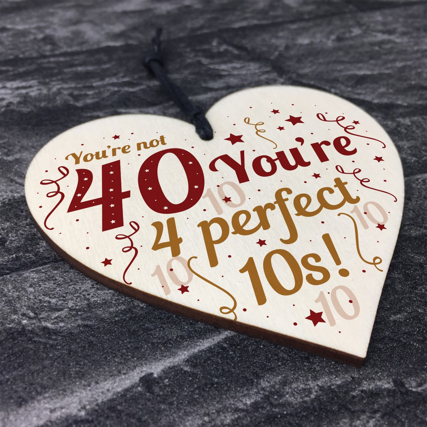 Funny 40th Birthday Gifts For Women Men Card Hanging Wood Sign