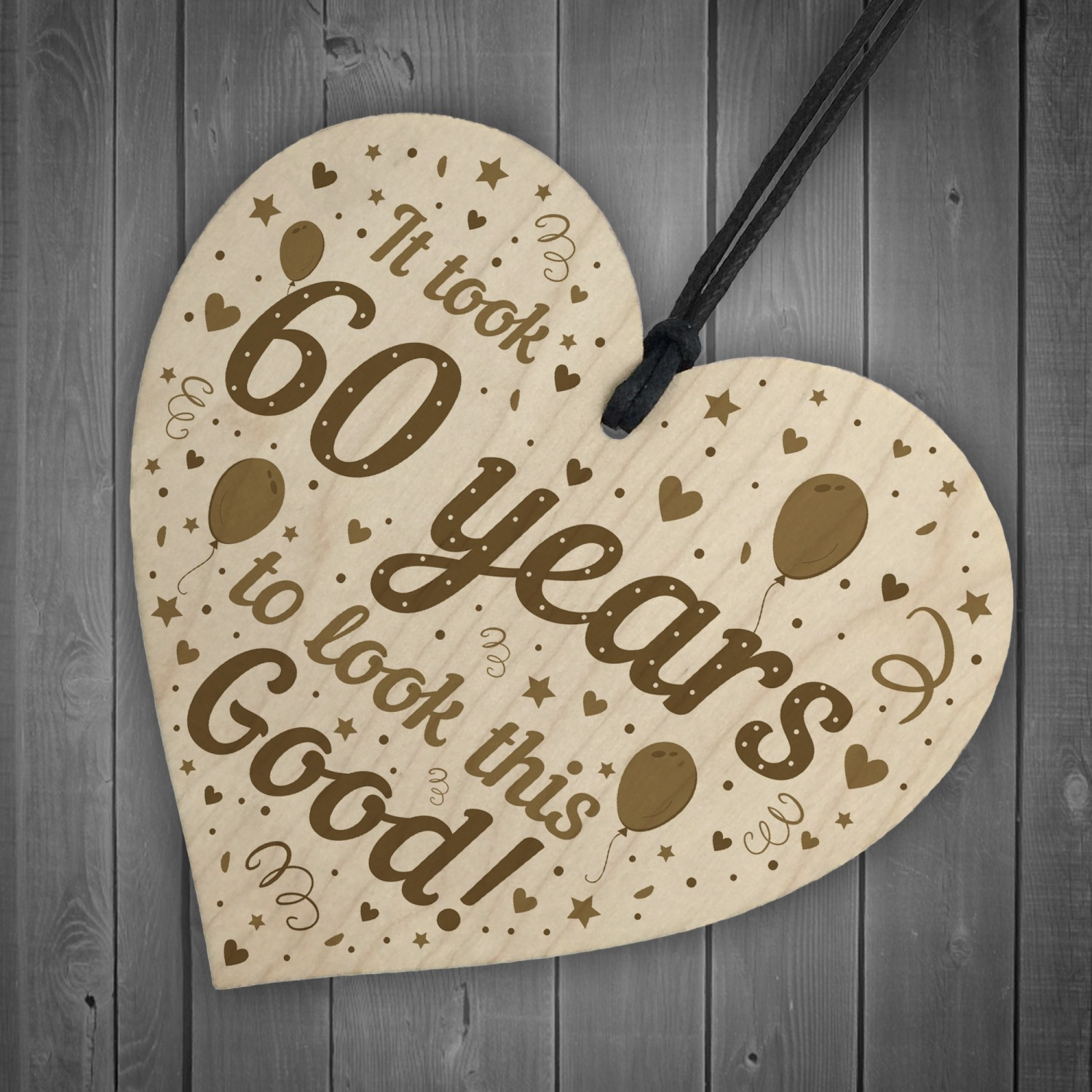 Funny 60th Birthday Gifts For Women Men Wooden Heart