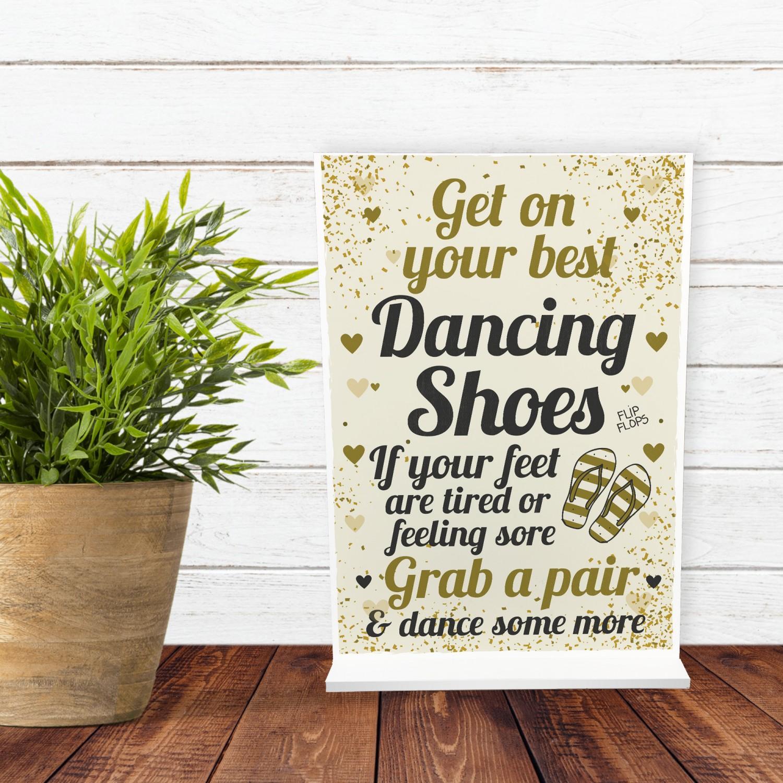 6f5198696 FLIP FLOP BASKET Wedding Sign Dancing Shoes Standing Plaque