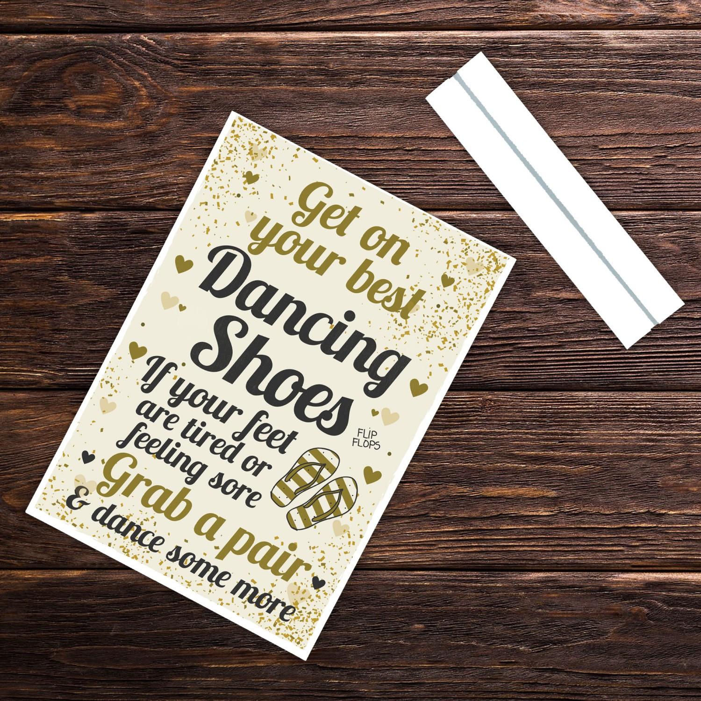 1905b5749cf3 FLIP FLOP BASKET Wedding Sign Dancing Shoes Standing Plaque