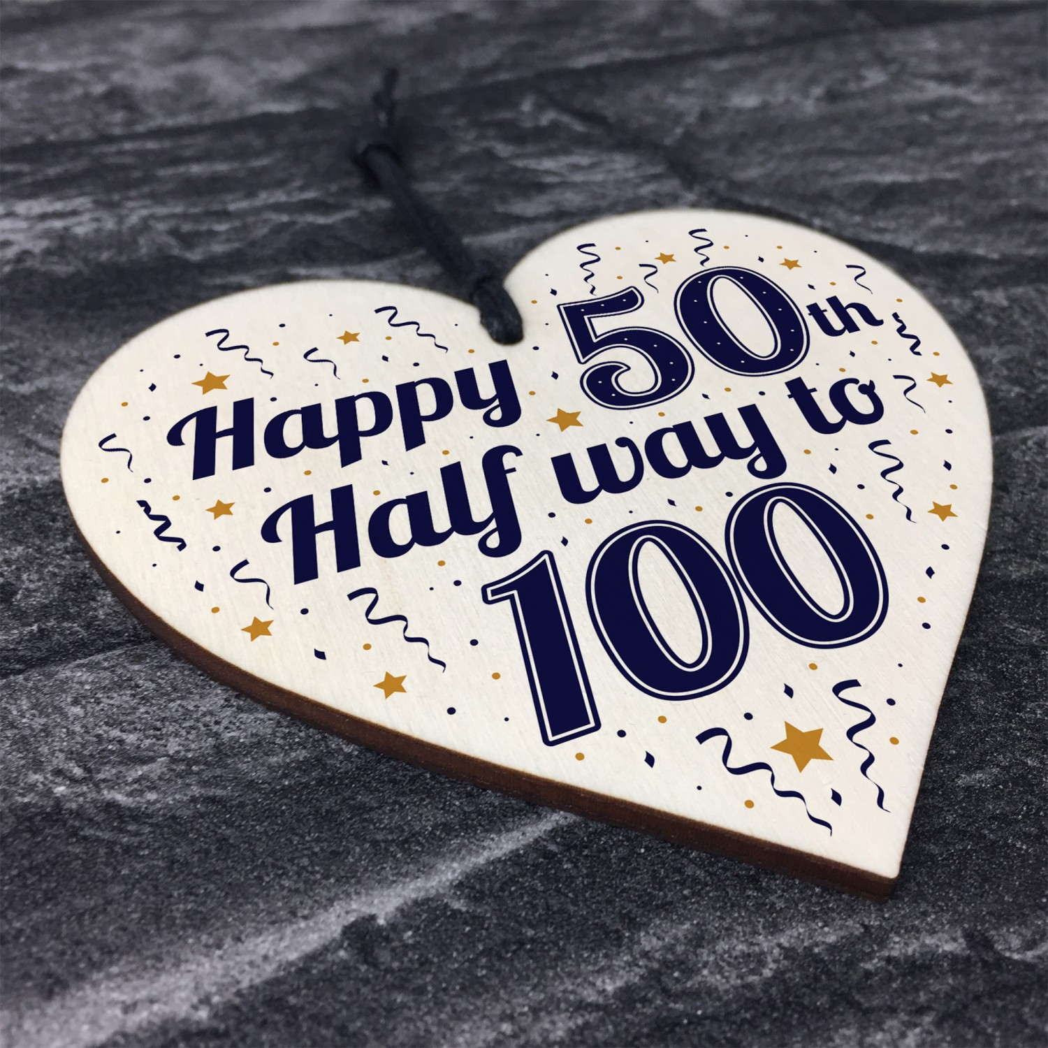 Funny Happy 50th Birthday Gift Present Wooden Heart Plaque