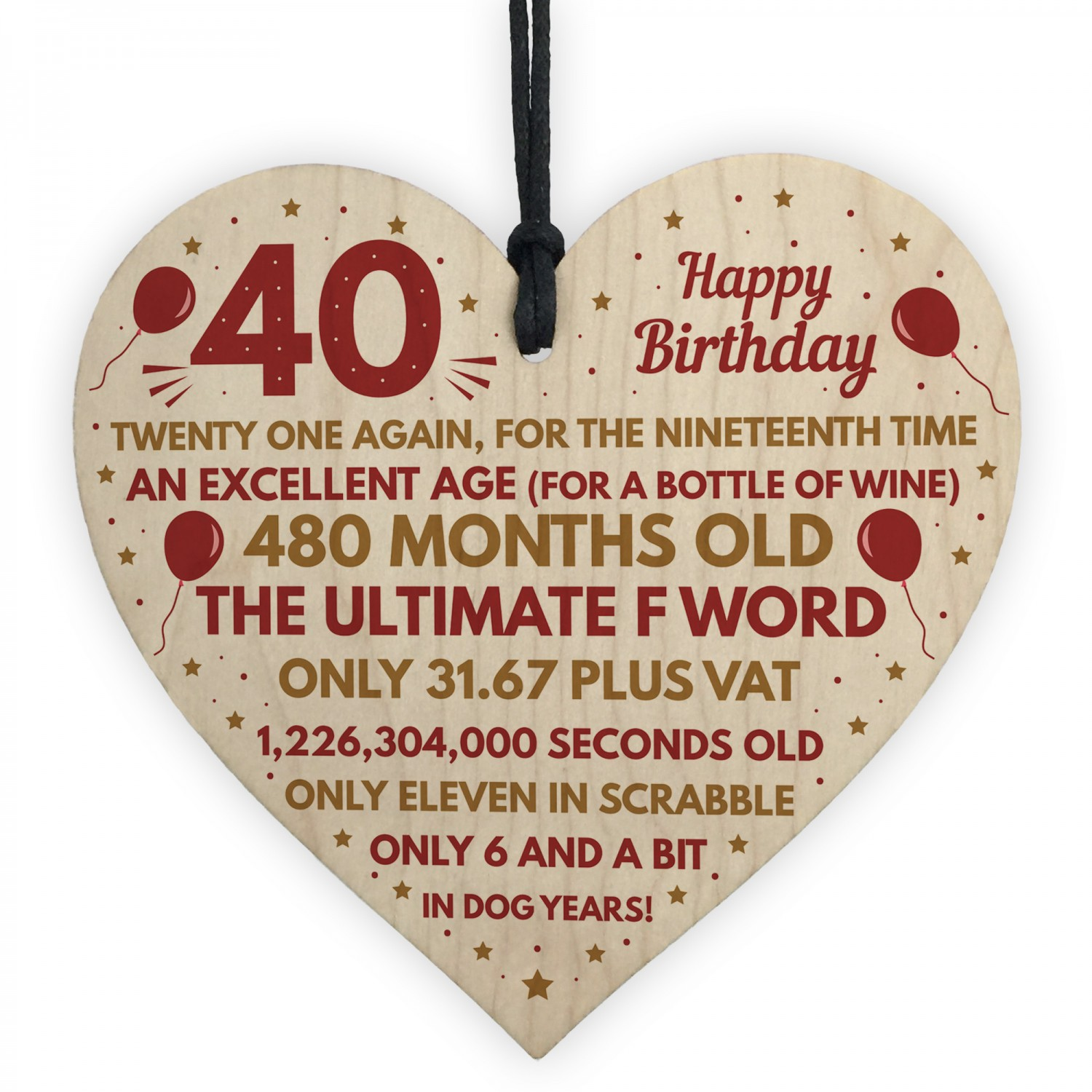 Funny 40th Birthday Gifts For Men Women Wooden Heart Decoration