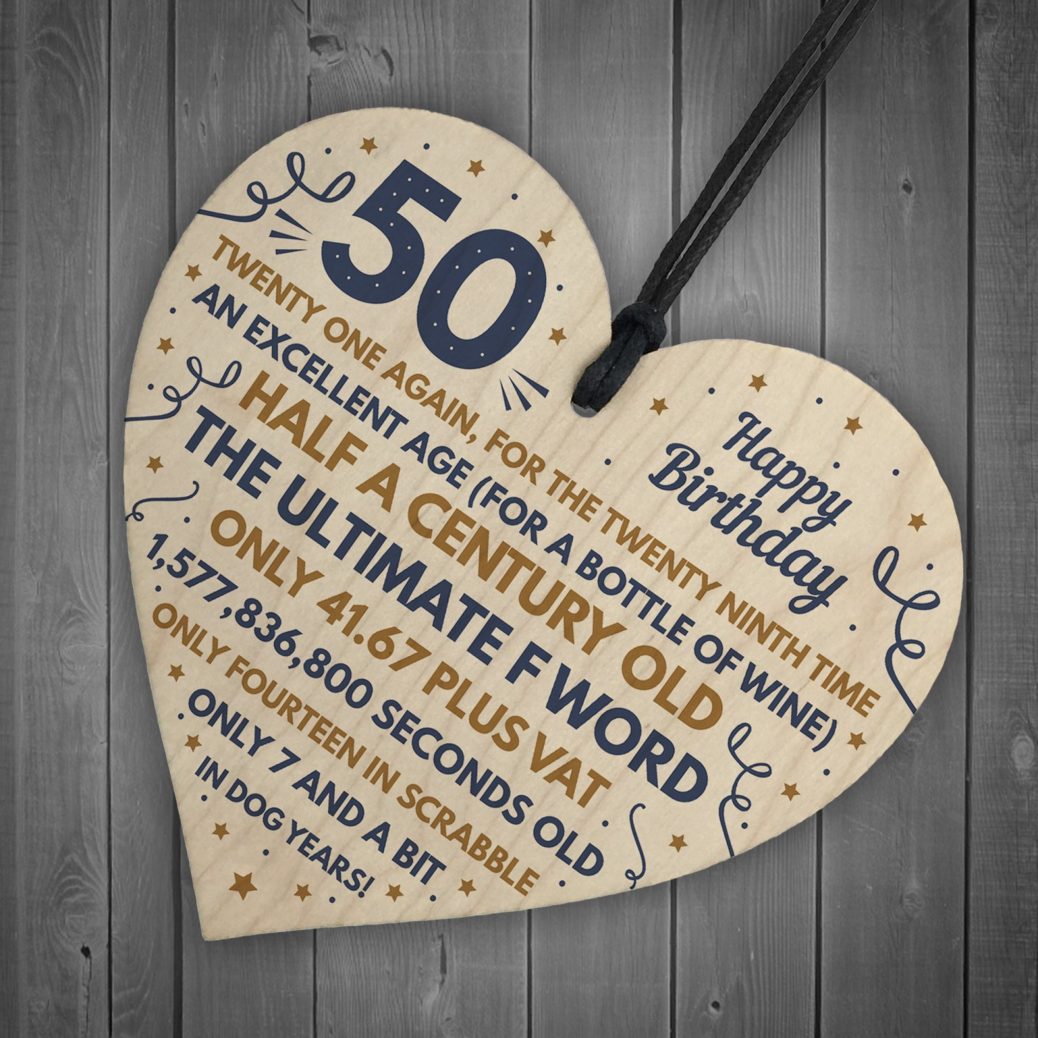 Funny 50th Birthday Gifts For Men Women Wooden Heart