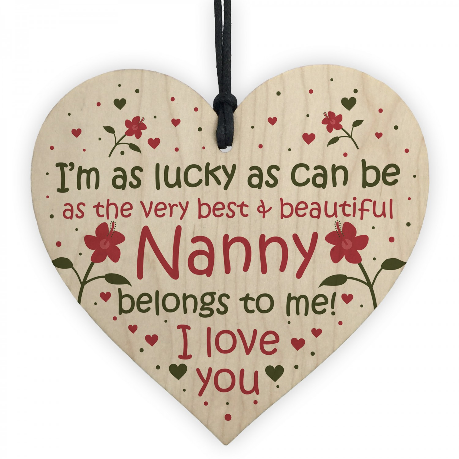 Nanny Gifts Birthday Card Wooden Heart Plaque