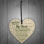 10 Reasons Why I Love My Uncle Wood Heart Sign Uncle Birthday