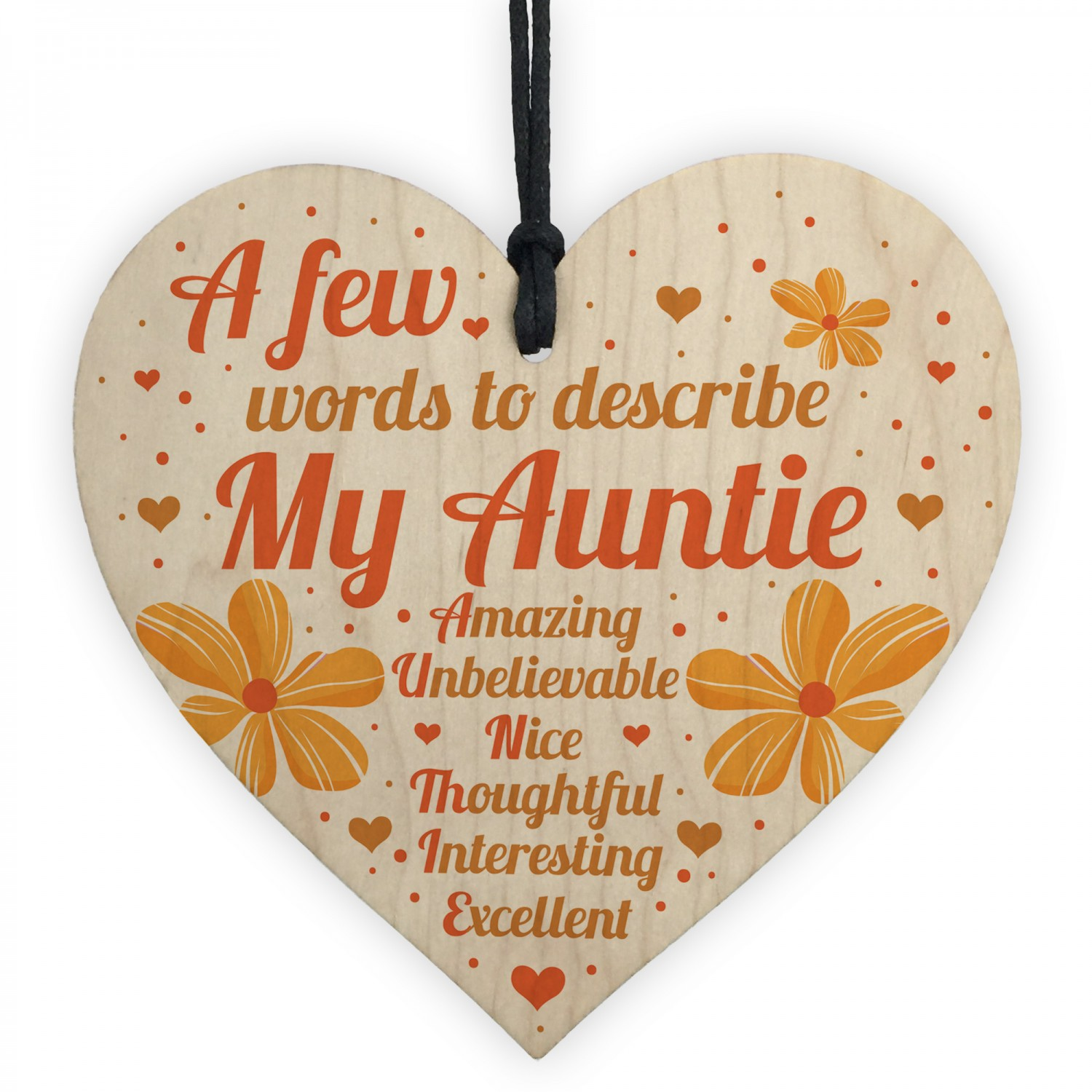 Auntie Gifts Birthday Card Gift Heart Plaque Mothers Day