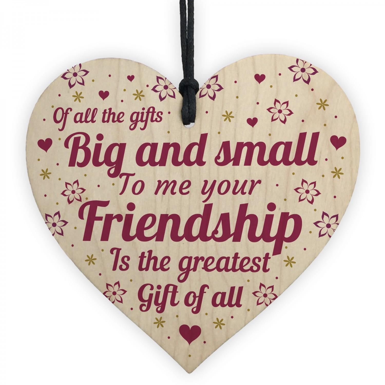 Best Friend Heart Friendship Friend Christmas Birthday Present Wood Plaque Gifts