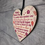 Mothers Day Gift For Mum Wood Heart Keepsake Love Thank You