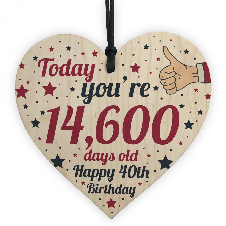 40th Birthday Card Wooden Heart Gift For Women Men