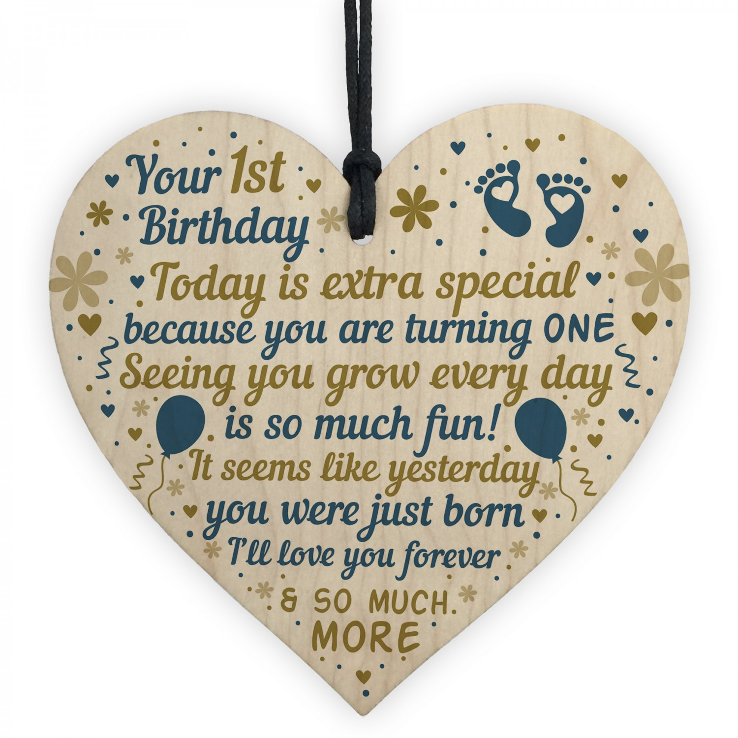 Babys First 1st Birthday Gift For Baby Girl Boy Wooden Heart
