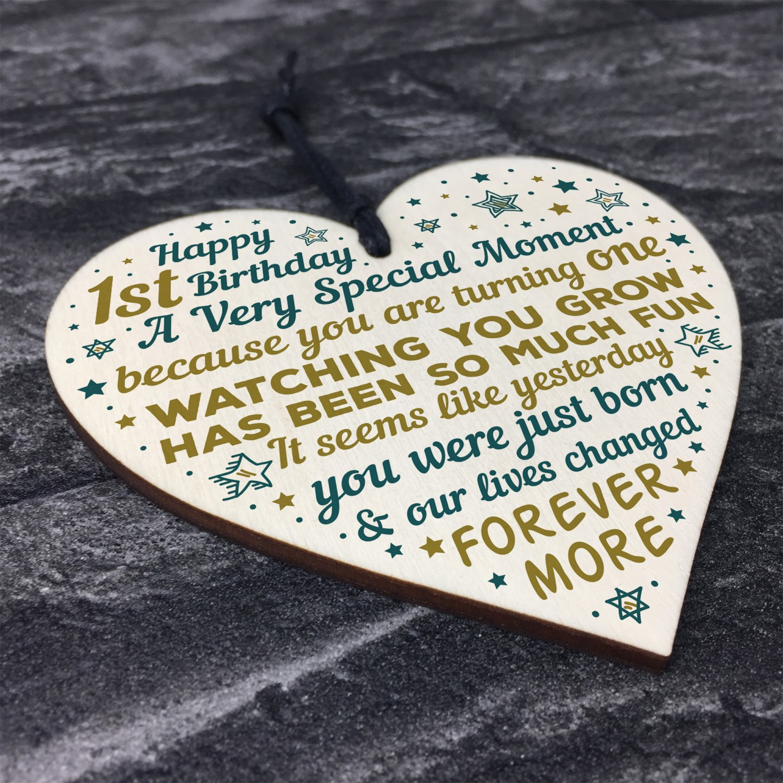 First 1st Birthday Gift Baby Boy Girl Handmade Wood Heart Gifts