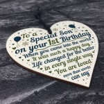 1st Birthday Baby Boy Wooden Heart Plaque Gift For Son