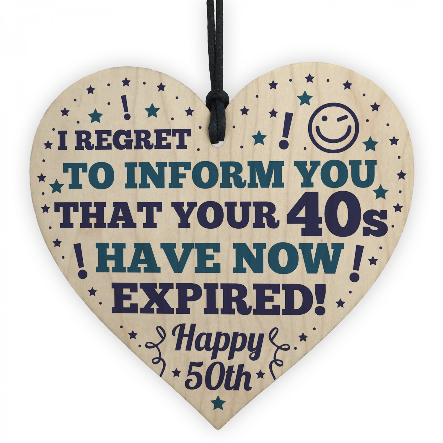 Novelty 50th Birthday Gifts For Mum Dad Brother Wood Heart