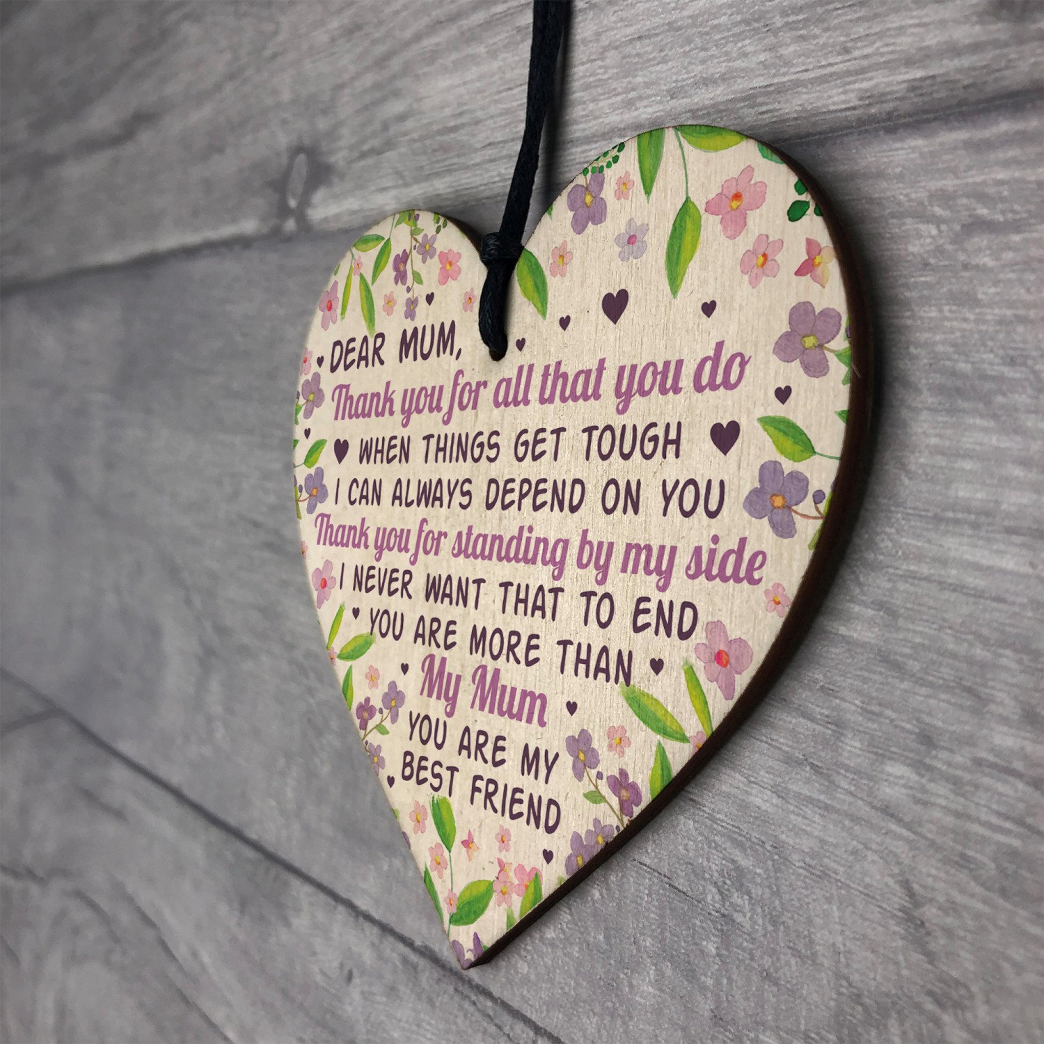 Mothers Day Gift Wooden Heart Mum Gifts Birthday