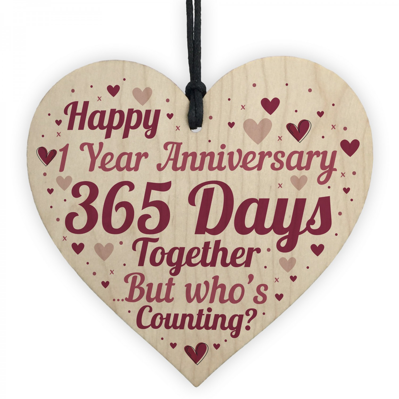 1st Anniversary Gift First Anniversary Wood Heart Husband Wife
