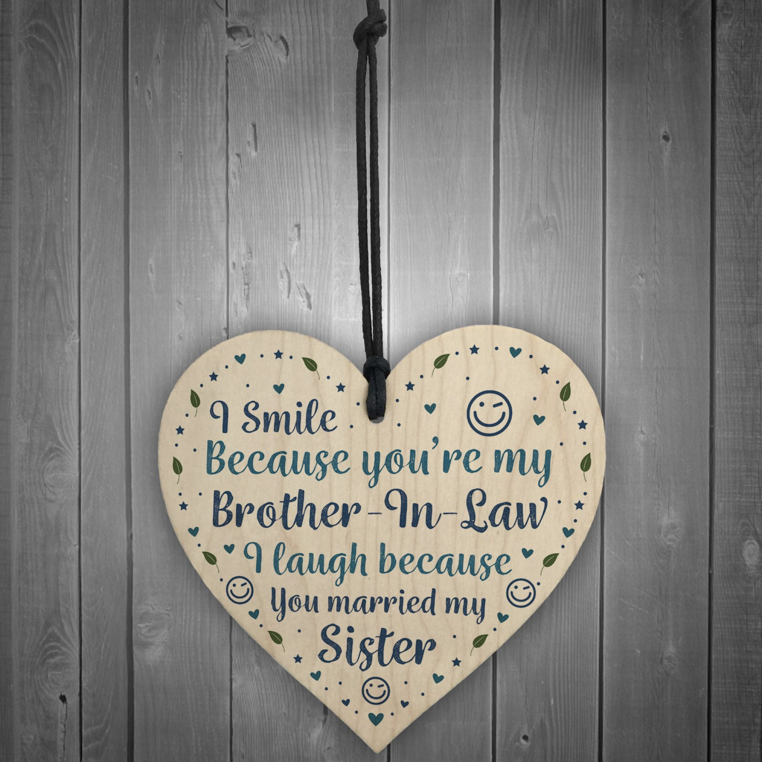 Funny Brother In Law Birthday Gift Wood Heart Humour